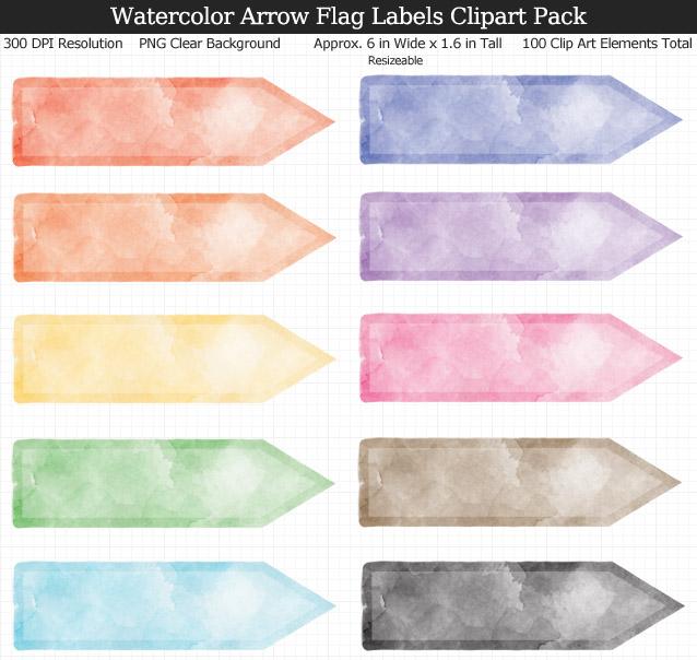 Watercolor Arrow Flag Labels Clipart Pack