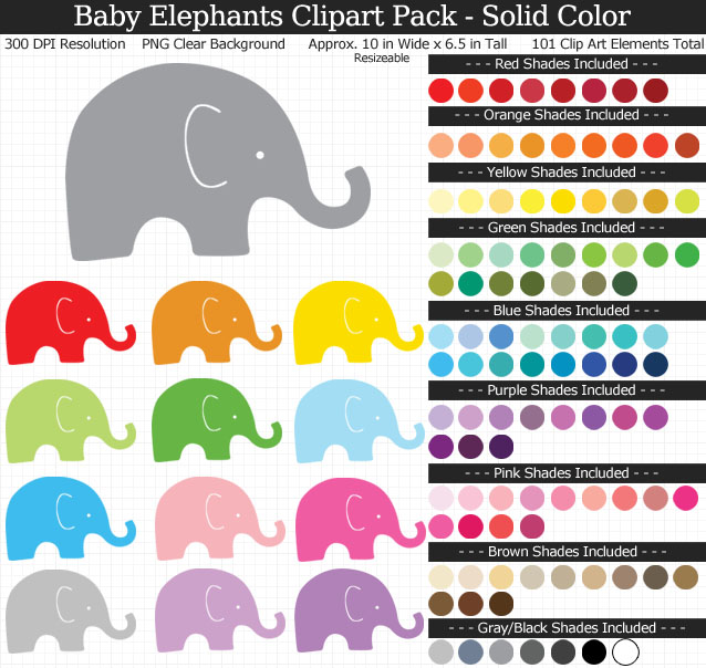 Baby Elephant Clipart Pack