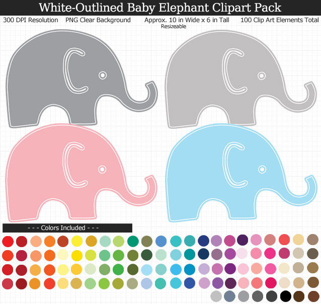 Rainbow Baby Elephants Clipart Pack - Clear Background PNG - Large 9 inches Wide x 9 inches Tall Resizeable - 100 Colors