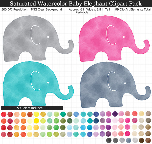 Rainbow Watercolor Baby Elephants Clipart Pack - Clear Background PNG - Large 6 inches Wide x 4 inches Tall Resizeable - 99 Colors