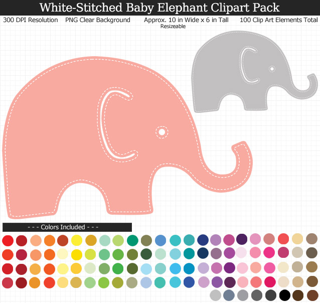 White-Stitched Baby Elephants Clipart Pack