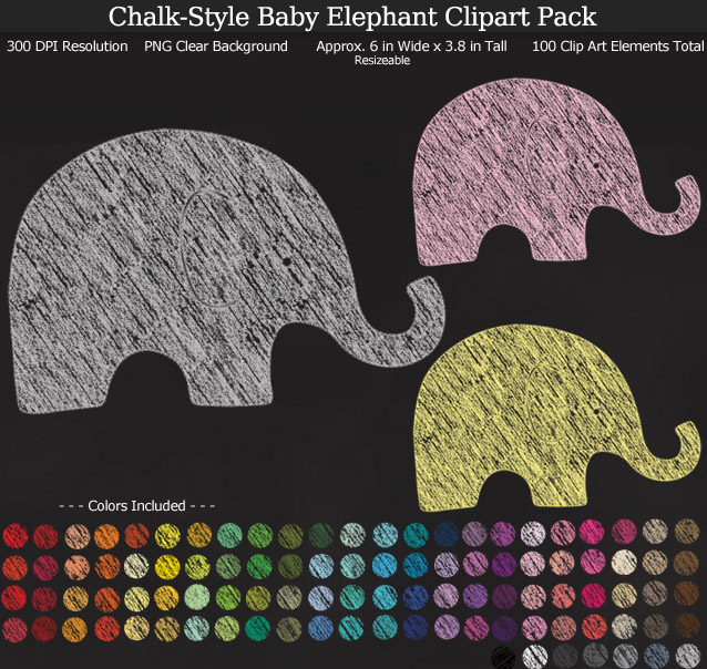 Rainbow Chalk-Style Baby Elephants Clipart Pack - Clear Background PNG - Large 9 inches Wide x 9 inches Tall Resizeable - 100 Colors