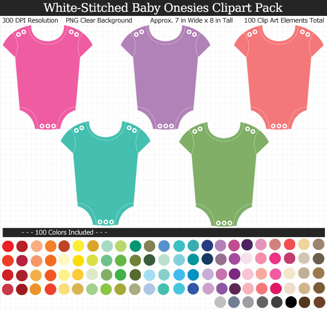 Rainbow Baby Onesies Clipart Pack - Clear Background PNG - Large 7 inches Wide x 8 inches Tall Resizeable - 100 Colors