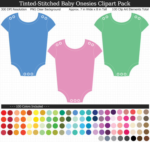 Tinted Stitched Baby Onesies Clipart Pack