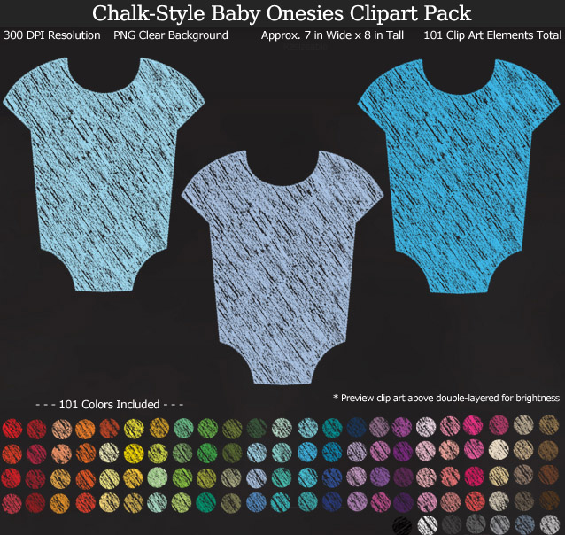 Chalk-Style Baby Onesies Clipart Pack