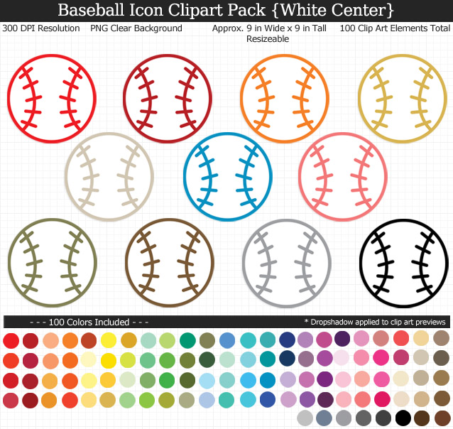 Love these rainbow baseball icon clipart for my project. 100 colors!