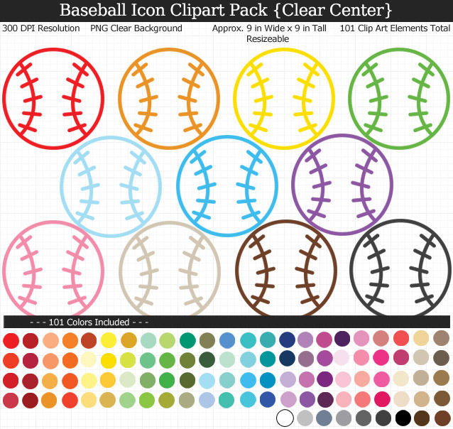 Love these rainbow baseball icon clipart for my project. 101 colors!