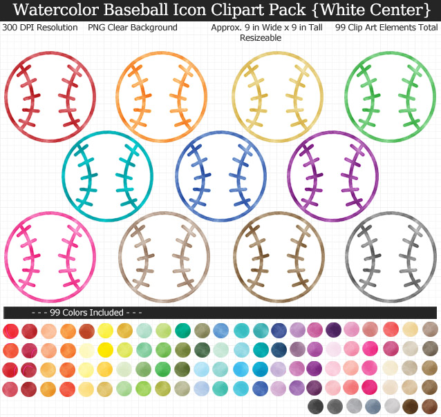 Watercolor Baseball Icons Clipart Pack