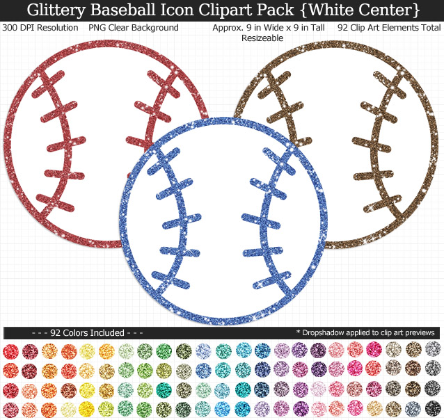 Love these rainbow glittery baseball icon clipart for my project. 92 colors!
