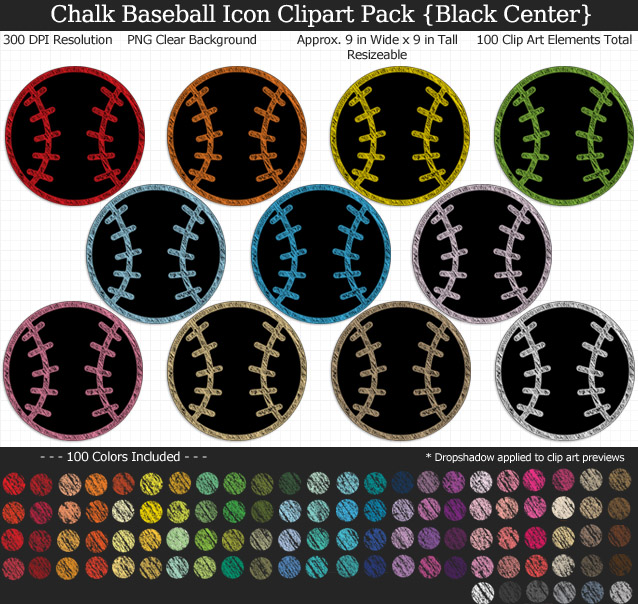 Love these rainbow chalk baseball icon clipart for my project. 100 colors!