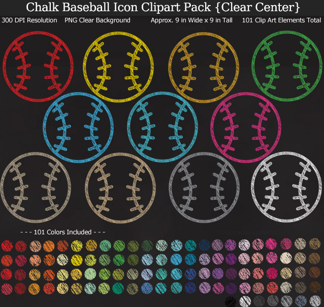 Love these rainbow chalk baseball icon clipart for my project. 101 colors!