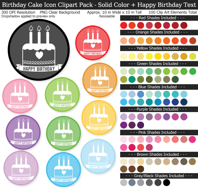 Birthday Icons Clipart Pack