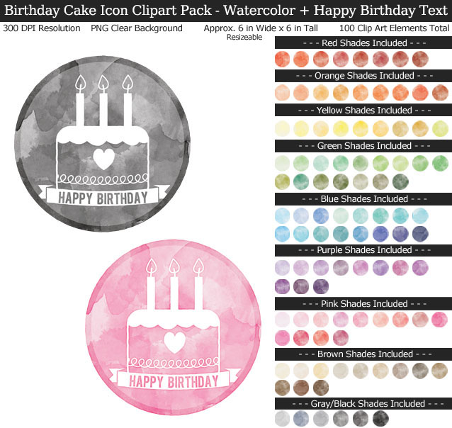 Watercolor Birthday Cake Icons Clipart Pack