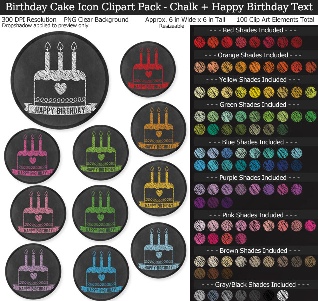 Chalk-Style Birthday Icons Clipart Pack