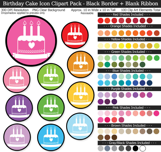 Birthday Cake Icons Clipart Pack