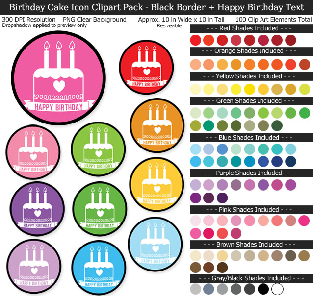 Rainbow Birthday Cake Icon Clipart Pack - Clear Background PNG - Large 10 inches Wide x 10 inches Tall Resizeable - 100 Colors
