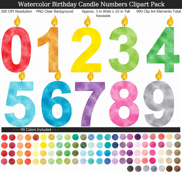 Watercolor Birthday Candle Numbers Clipart Pack