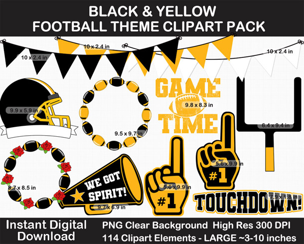Love these black and yellow football clipart for football season! Go Steelers!