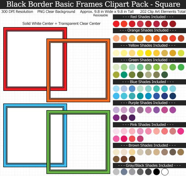 Basic Square Frames Clipart Pack