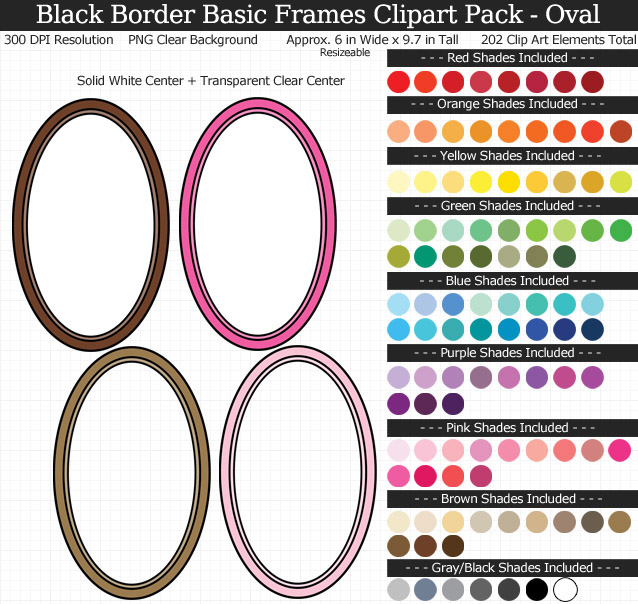 Oval Frames Clipart Pack