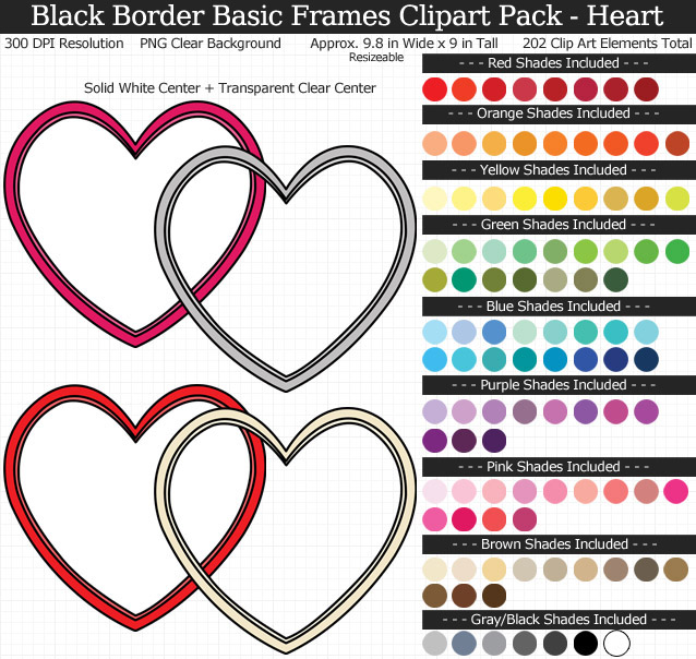Rainbow Black-Bordered Basic Frames Clipart Pack - Clear Background PNG - Large 6-9 inches Wide x 9 inches Tall Resizeable - 101 Colors