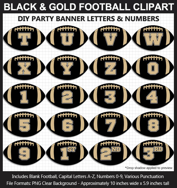 Love these fun Black and Gold Football clipart for game day decoration - Letters, Numbers, Punctuation - Go Saints!