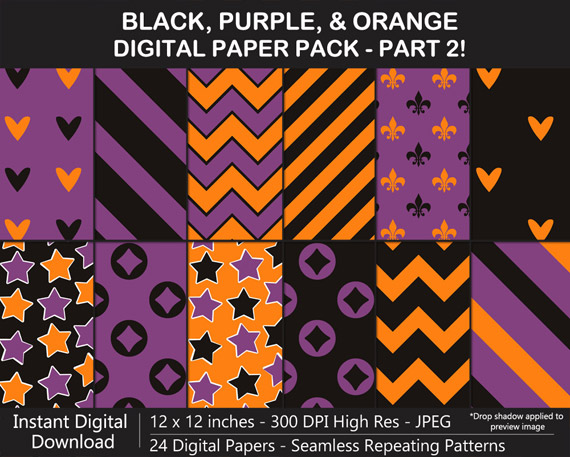 Black, Purple, and Orange Digital Paper Pack for Halloween