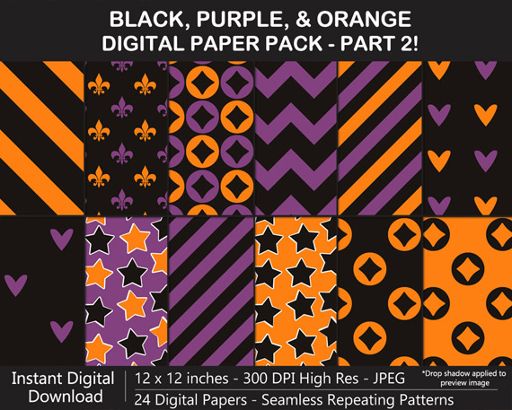 Love these black, orange, and purple pattern digital papers for Halloween!