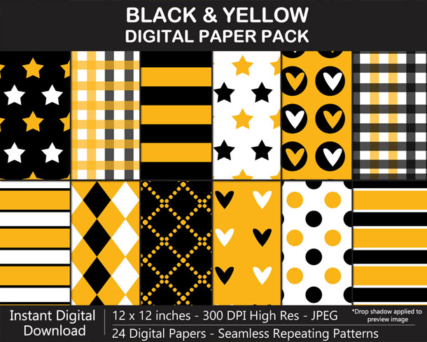 Love these fun black and yellow digital papers!
