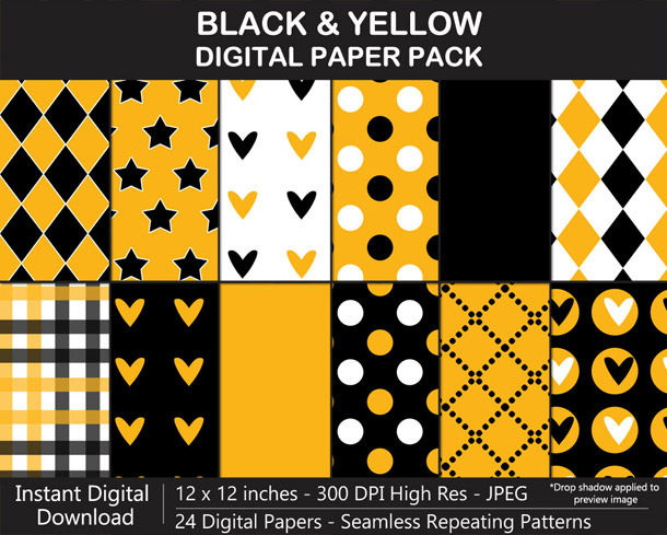 Love these fun black and yellow football digital papers!