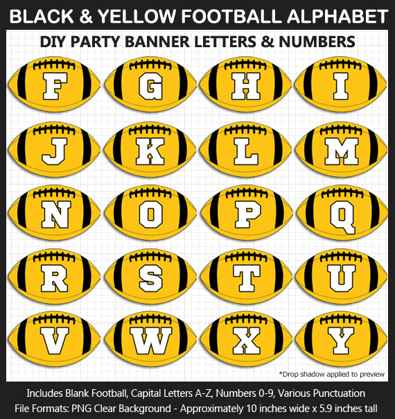 Love these fun Black and Yellow Football clipart for game day decoration - Letters, Numbers, Punctuation - Go Steelers!