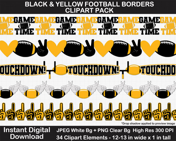 Love these fun football borders clipart! Go Steelers!