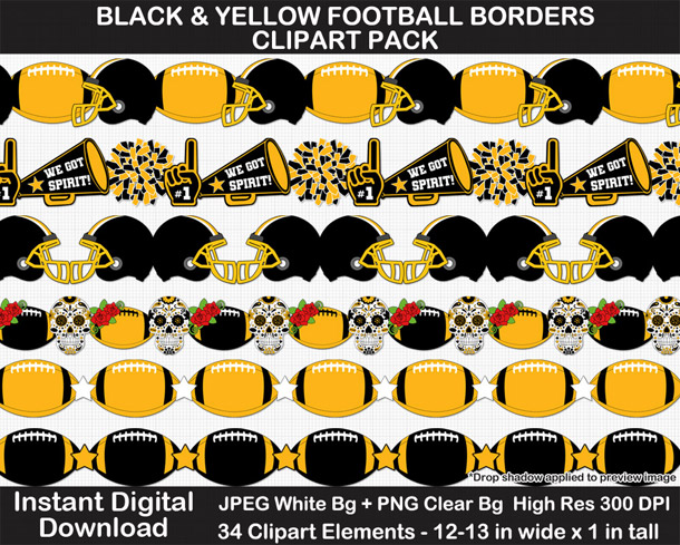 Love these fun black and yellow football borders for scrapbooks, signs, and bulletin boards. Go Steelers!