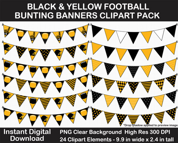 Love these fun Black and Yellow Football Theme Bunting Banner Clipart - Go Steelers!