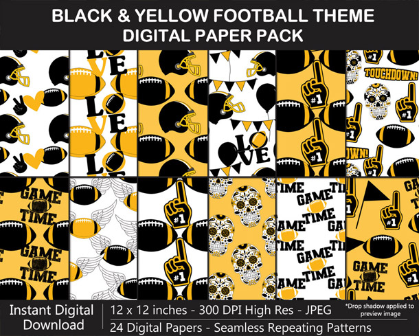 Love these fun black and yellow football digital papers - Go Steelers!
