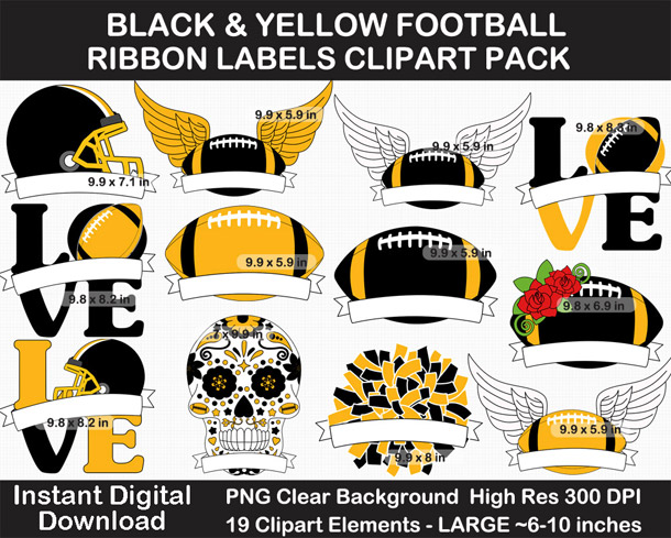 Black and Yellow Football Ribbon Label Clipart Pack - Go Steelers!