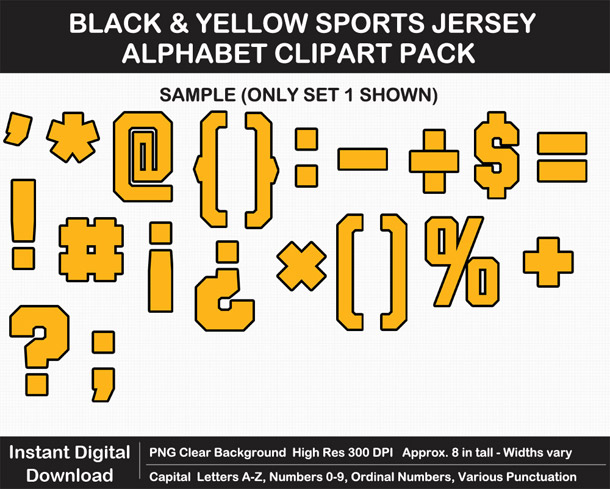 Love these fun Black and Yellow Sports Jersey Alphabet Clipart for Sign Making - Letters, Numbers, Punctuation - Go Steelers!