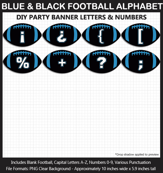 Love these fun Blue and Black Football clipart for game day decoration - Letters, Numbers, Punctuation - Go Panthers!