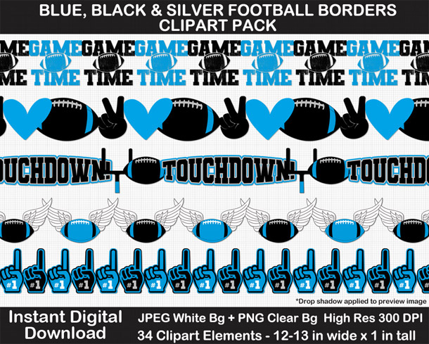 Love these fun blue, black, and silver football borders for scrapbooks, signs, and bulletin boards. Go Panthers!
