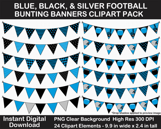 Love these fun Blue, Black, Silver Football Theme Bunting Banner Clipart - Go Panthers!