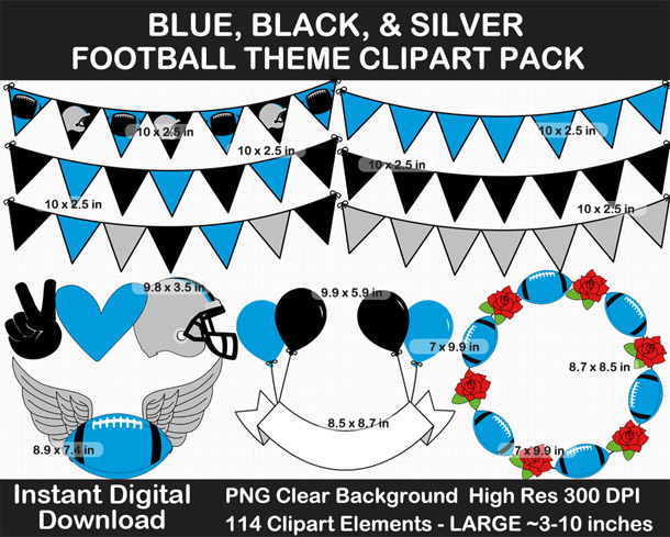 Love these fun Blue, Silver, and Black Football Theme Clipart - Letters, Numbers, Punctuation - Go Panthers!
