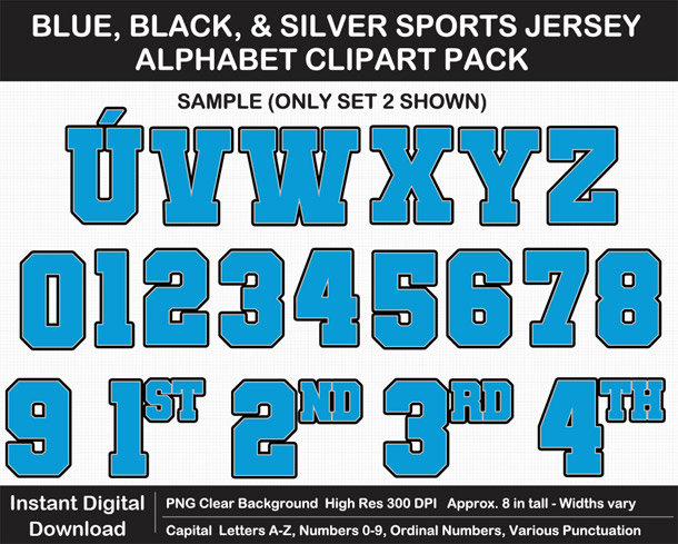 Love these fun Blue, Black, and Silver Sports Jersey Alphabet Clipart for Sign Making - Letters, Numbers, Punctuation - Go Panthers!