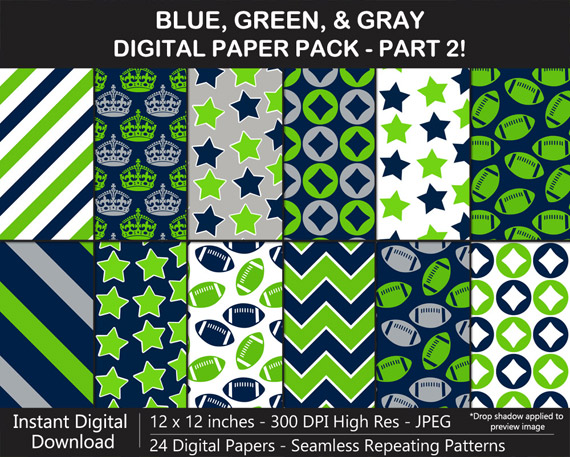 Love these blue, green, and gray seamless pattern digital papers!