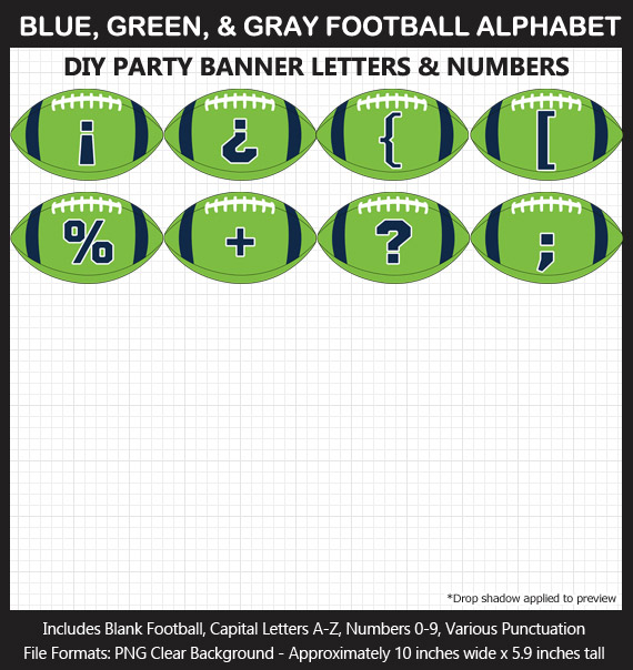 Love these fun Blue, Green, and Gray Football clipart for game day decoration - Letters, Numbers, Punctuation