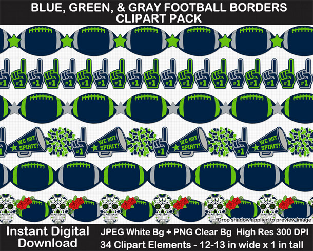 Love these fun football borders clipart! Go Seahawks!