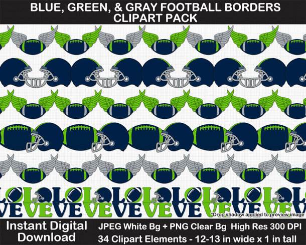 Love these fun blue, green, and gray football borders for scrapbooks, signs, and bulletin boards. Go Seahawks!