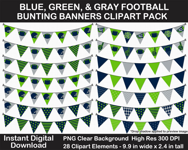 Love these fun blue, green, and gray football bunting banner cut outs for decorating! Go Seahawks!