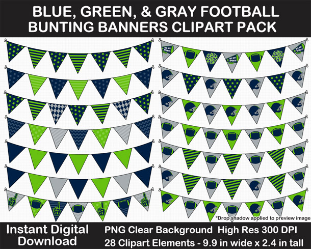 Love these fun Blue, Green, and Gray Football Theme Bunting Banner Clipart - Go Seahawks!