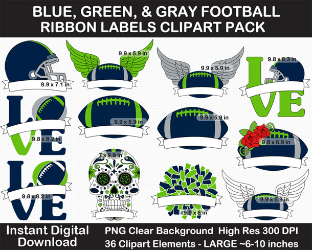 Love these blue, green, and gray football ribbon labels clipart for football season! Go Seahawks!