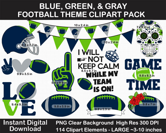 Love these fun blue, green, and gray football theme clipart pack!